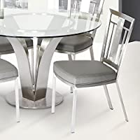 Armen Living LCCLCHGRB201 Cleo Dining Chair Set of 2 in Grey and Brushed Stainless Steel Finish