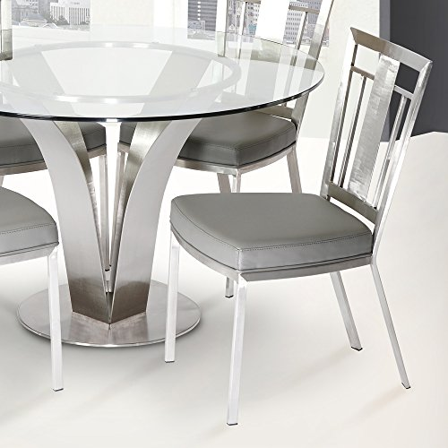 - Armen Living LCCLCHGRB201 Cleo Dining Chair Set of 2 in Grey and Brushed Stainless Steel Finish