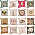 Throw Pillow Cover, DaySeventh Easter Cotton Square Rabbit Throw Pillow Case Waist Cushion Cover Home Decor 18x18 Inch 45x45 cm