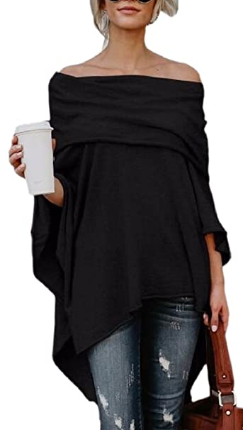 0f1e510c9f521 CBTLVSN Womens Off Shoulder Cape Irregular Hem Loose Top Blouse at Amazon  Women s Clothing store