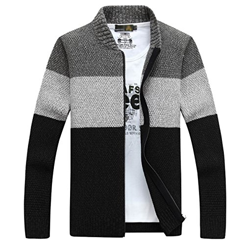 Fanhang Men's Knitted Zip Down Cardigan Sweater With Stripe (L, DARK (Mens Zip Front Cardigan)