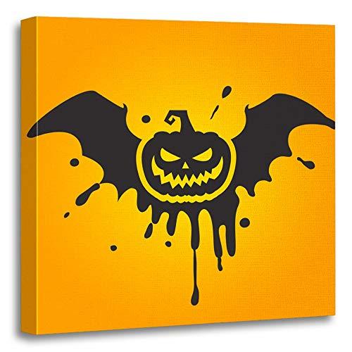 Emvency Painting Canvas Print Artwork Decorative Print Orange Lantern Halloween Pumpkin Scary Silhouette Abstract Autumn Bat Black Boo Wooden Frame 20x20 inches Wall Art for Home Decor