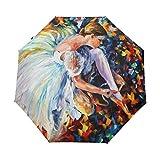 Ethel Ernest Folding Windproof Umbrella Colorful Ballet Dancer Art Waterproof Auto Foldable Umbrella