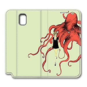 Brian114 Samsung Galaxy Note 3 Case, Note 3 Case - Design Leather Folio Stand Flip Cover Case for Samsung Note 3 Pet Octopus Protective and Light Carrying Cover for Samsung Galaxy Note 3