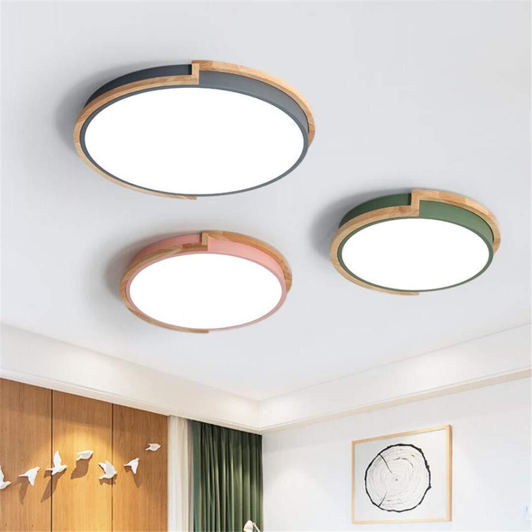 GD1 Plafonnier Nordic Style Lampe De Chambre Gris Simple Rond Créatif Lampe  En Bois Massif Design ...