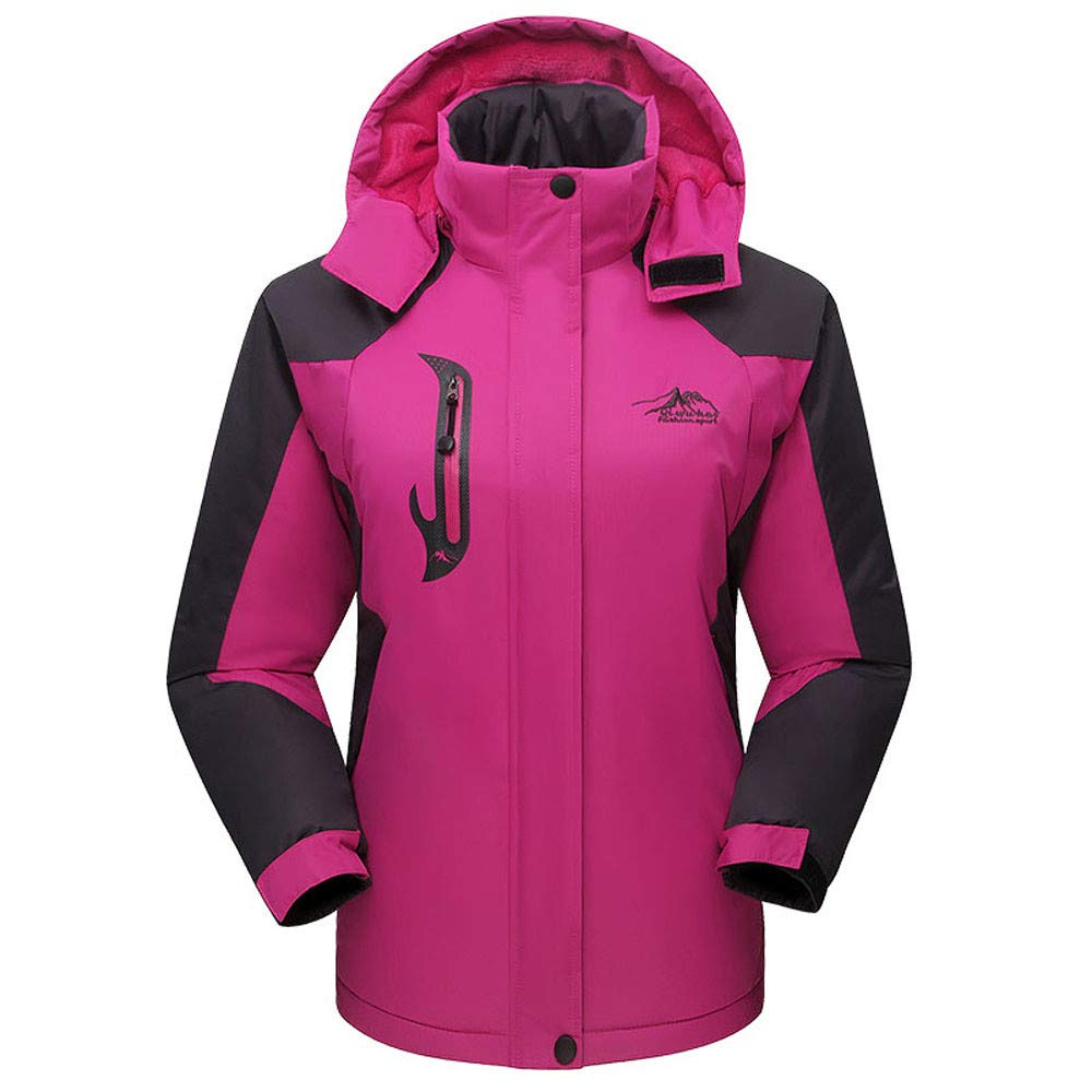 Women's Outdoor Sports Jacket 3 in 1 Ski Mountain Hiking Coat Windproof Hooded Inner Warm Fleece Coat