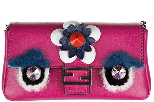 fuxia Fendi baguette Leder Schultertasche Damen Umhängetasche Tasche micro Bag 0r0z8qwx