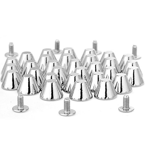 RUBYCA 10 Sets Silver Color 8MM Big Mushroom Studs and Spikes Metal Screw-Back Leather-Craft DIY - Hardware Cone