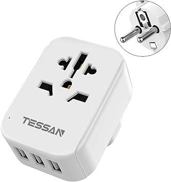 Adaptador de Corriente de Viaje Tipo E/F, 4 en 1 Europeo con 3 Puertos USB EU Schuko para Estados Unidos a la mayoría de Europa, Noruega, España, Islandia, Portugal: Amazon.es: Electrónica