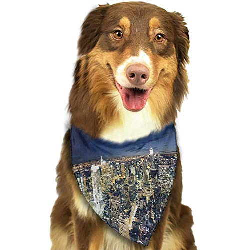 Pet Dog Scarf Urban Modern Cityscape After Sunset Manhattan New York USA Architectural View W27.5 xL12 Scarf for Small and Medium Dogs and Cats