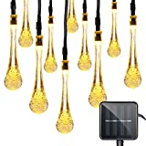 Vmanoo Christmas Decorative Solar Powered Lights, 30 LED 19.7ft 8 Modes Water drop Fairy String light for Outdoor Indoor Home Patio Lawn Garden Party Wedding Holiday Valentines Gift (Warm White)