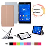 Sony Xperia Z3 Compact Tablet Case Cover, FYY® Smart Cover Folio Case for Sony Xperia Z3 Compact Tablet Gold (With Auto Wake/Sleep Feature)
