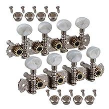 Yibuy 110 x 1.5mm 4L4R Mandolin Machine Heads Tunning Pegs Silver
