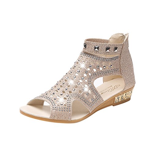 (Hot Sale!! ZOMUSA Womens Open Toe Wedding Rhinestone Sandal Fish Mouth Hollow Roma Low Heel Shoes (Beige, US:7))