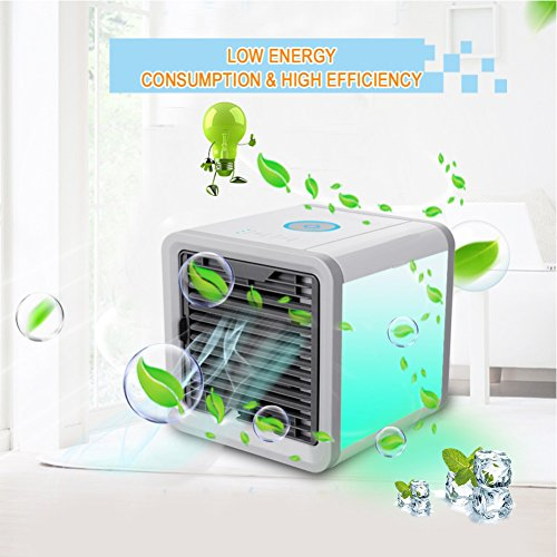 3 IN 1 Portable Air Cooler Fan, Mini Air Conditioner Device Cool Wind USB Air Conditioner Humidifier & Purifier with 7 Color LED