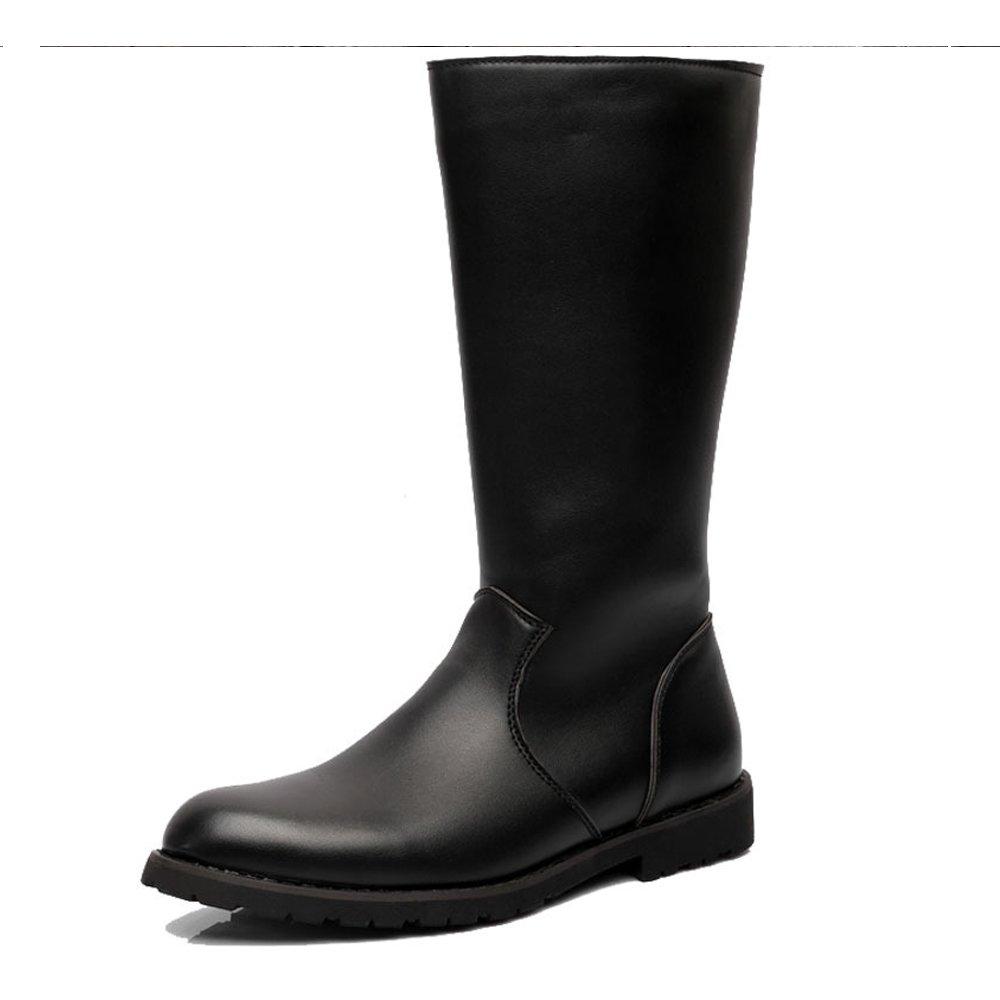 MXNET Herrenschuhe Glattleder Upper Side Zipper Mid Calf Combat Stiefel für Herren Herren (Farbe   Schwarz, Größe   38 EU)