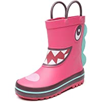 Child Rubber Rain Boots Easy on Cartoon Rain Shoes for Boys Girls (Toddler/Little Kid)
