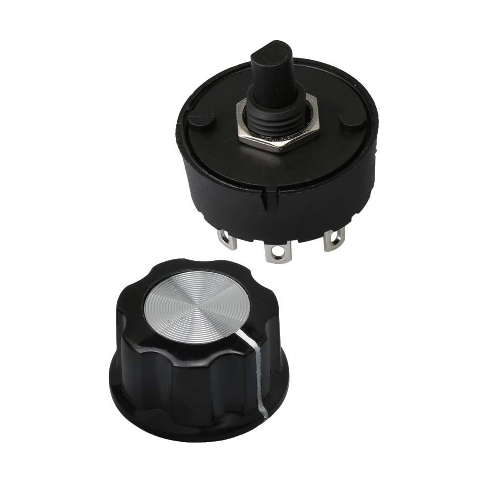 Mxfans 3 posiciones, 2 maneras Interruptor rotatorio con perilla para electrodom/ésticos
