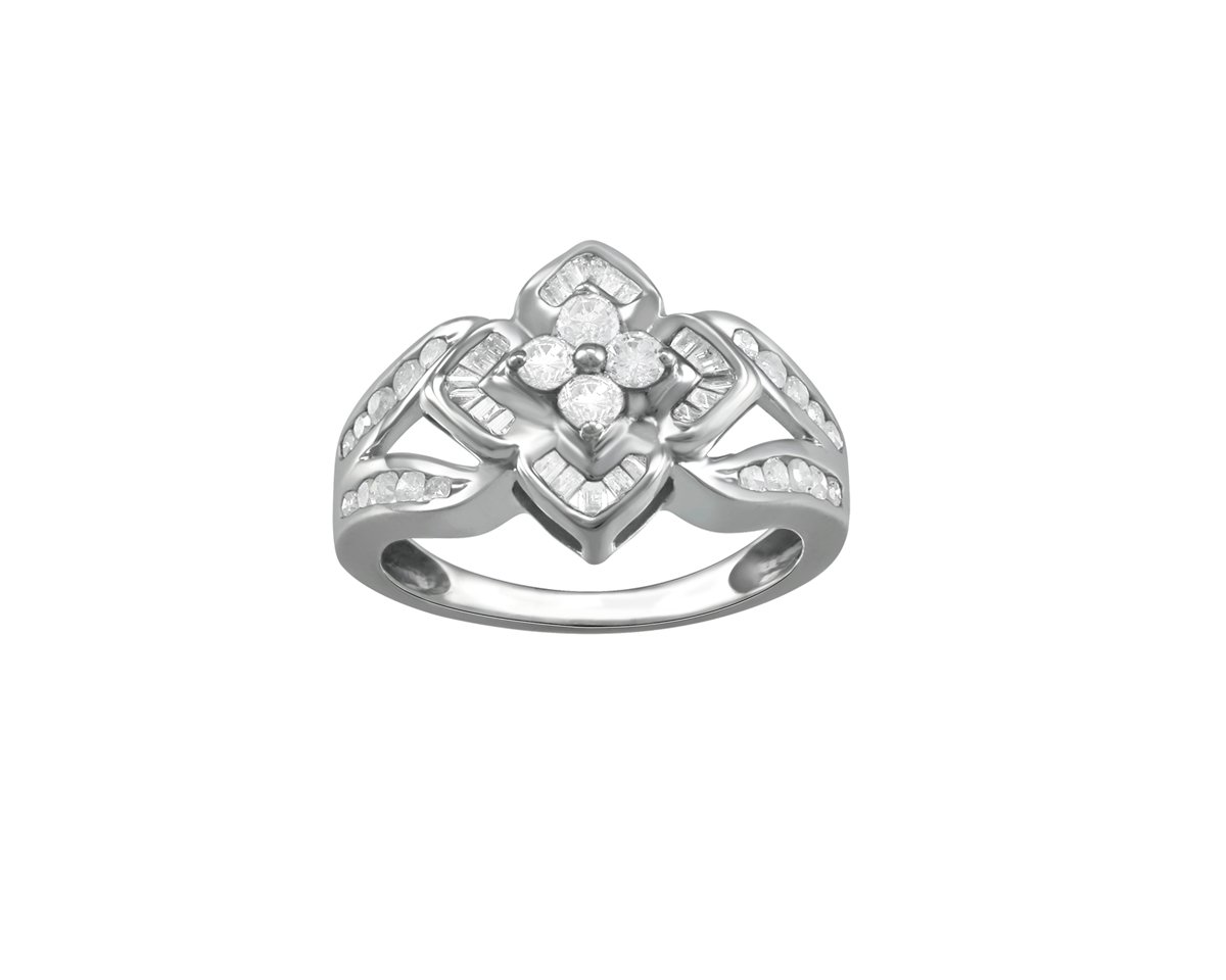 Christmas Gifts Store Indya Sterling Silver 1/2CT Round & Baguette Cut Diamond Floral Cocktail Ring (6.75)