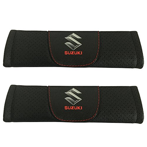 Jimat 2pcs Suzuki Logo Black Leather Car Seat