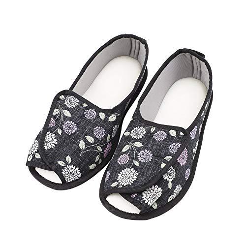Arthritis Extra Shoes Memory Diabetic Slippers Edema Wide Black Adjustable Slippers Flower Comfortable Women's Foam wq1fEpqz