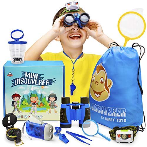Kids Explorer Kit - Bug Catcher Kit for Kids & Binoculars for Kids - Great Gift for Boys & Girls - Best for 3, 4, 5, 6, 7, 8, 9 & 10 Year Old | Magnifying Glass, Flashlight, Compass, Educational Toys