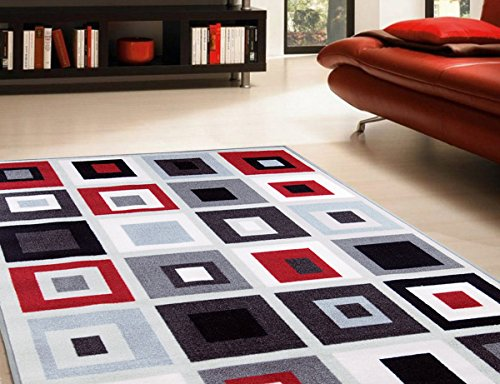 Adgo Collection, Modern Contemporary Rectangular Design Rubber-Backed Non-Slip (Non-Skid) Area Rugs| Thin Low Profile Indoor/Outdoor Floor Rug (6' x 9', AD10101 - Black Red)