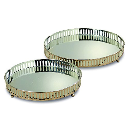 The Crosby Street Mirrored Dresser Top Trays, Brilliant Mirror Floor Inset, Set of 2, Bright Silver Stainless Steel and Glass, 11 3/4 and 10 1/4 Inches Diameter, By Whole House Worlds - Round Set Dresser