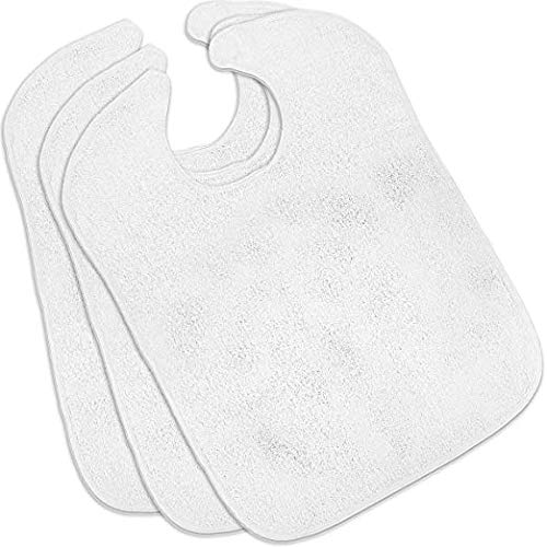Nobles Terry Adult Bibs (3-Pack, White, 18 x 30 Inches) With Velcro Closure Made From 100% Cotton - Absorbent Clothing Protector - Reusable - Machine Washable Patient Bibs