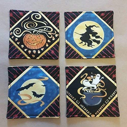 Fabric Block Halloween Vintage Image Flying Witch