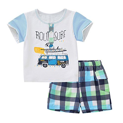 Neeseelily Cotton Baby Boys 2pcs Summer Clothes Cotton Cute Print Short Sleeve...