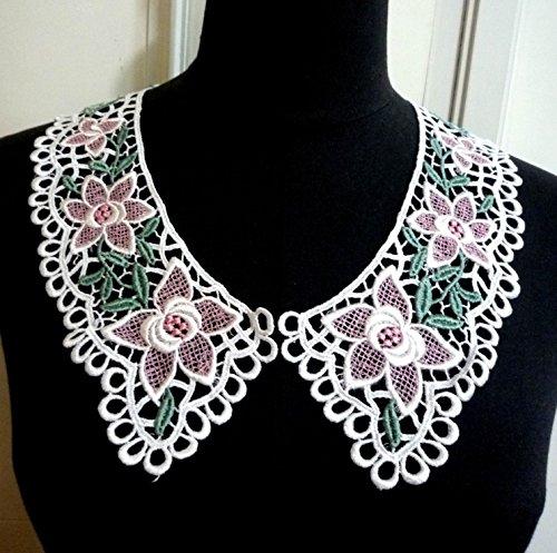 1 Pair White Neckline Applique Pink Rayon Crochet Necklin...