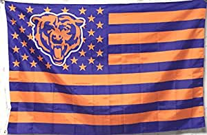 Chicago Bears With US Stripe Star Flag (3ftx5ft)