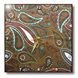3dRose dpp_35391_3 Brown Pink Aqua Paisley-Wall Clock, 15 by 15-Inch Review