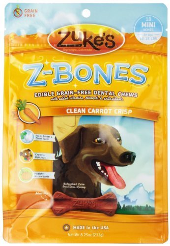 Zuke's Z-Bones Edible Grain-Free Dental Chews, Clean Carrot Crisp, Mini 0.45-Ounce, 18 Count by Zuke's
