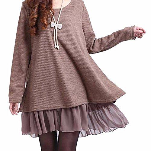 IMAGINE Fashion Women Bow Tie Ruffle Top Scoop Neck Long Tunic Plus Size Sweater Dress(KH,3XL) (Neck Scoop Sweater Dress Knit)