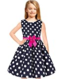 Tkiames Girls Vintage Summer Sleeveless Casual Swing Party Dress Belt