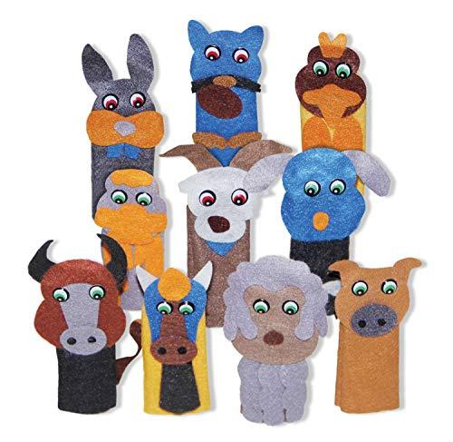Dedoche Animais Domésticos Feltro 10 Personagens Carlu Brinquedos