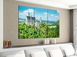 Acrílico cristal imágenes 3piezas 150x 120cm Neuschwanstein Candado Castillo Impresión acrílico de cristal acrílico imágenes Cuadro 14e2022, gesamt 150x120cm