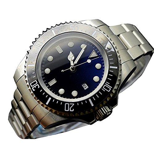 Parnis 47MM Deep sea Dweller Stainless Steel Automatic Wind Mechanical Men's Watch Ceramic Bezel Blue and Black ()