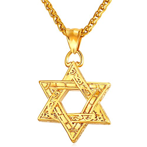 Jewish Gold Pendants - U7 Jewish Jewelry Vintage Style Amulet Pendant for Men & Women Chain 22 Inch 18K Gold Plated Star of David Necklace