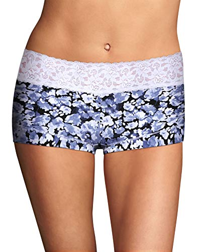 Maidenform Women's Dream Cotton with Lace Boyshort, Denim Water Flower/White, 5
