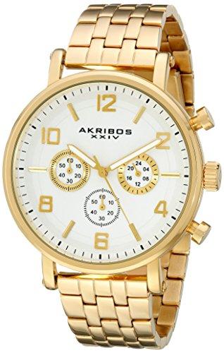 Akribos XXIV Men's AK800YG Chronograph Quartz Movement Watch with White Dial and Yellow Gold Stainless Steel Bracelet