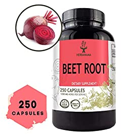 Beet Root 250 Capsules 2100 mg per Serving | Filled with Beet Root Powder | Energy, Stamina, Performance | Digestive…