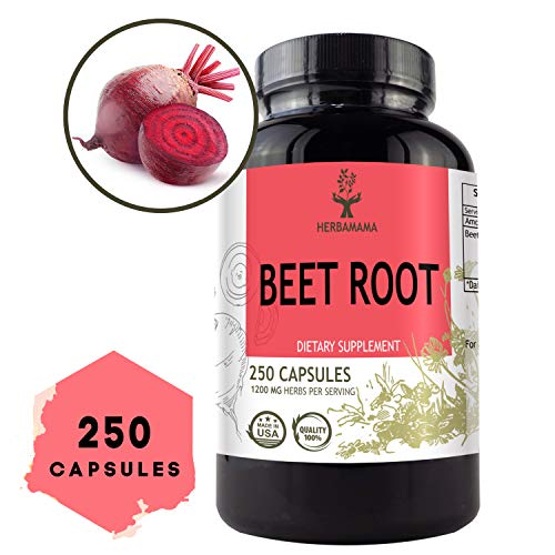 Beet Root 250 Capsules 1200 mg per Serving | Filled with Beet Root Powder | Energy, Stamina, Performance | Anti-Inflammatory | Digestive Function | Immune Booster | Blood Pressure Support | Non-GMO