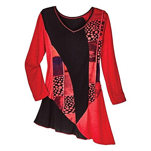 Women's Tunic Top - Scarlet Red Dots 'N Flowers Diagonal Hem Shirt - 3X