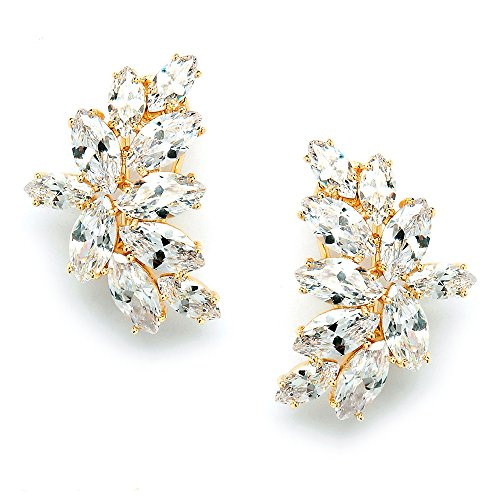 Mariell Shimmery Marquis Cluster Cubic Zirconia Bridal or Special Occasion Earrings - 14K Gold Plated
