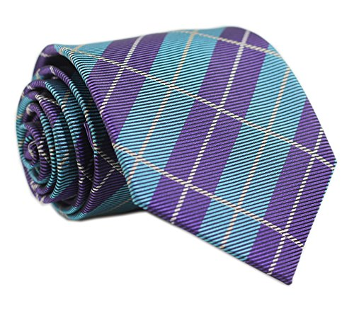Secdtie Men's Classic Checks Green Purple Jacquard Woven Silk Tie Necktie Y16