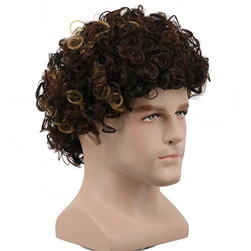 Yuehong 70s 80s Party Funky Disco Mens Hair Wigs Afro Wig Halloween Costume -