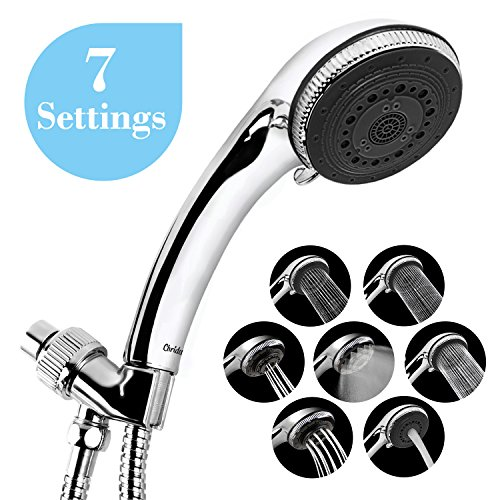 "Chrider Handheld Shower Head, 7 Spray Settings Hand Held Shower Head with Hose, 3.2"" High Pressure Showerhead, 60"" Stainless Steel Hose, Adjustable Mount, Chrome Hand Held Finish"
